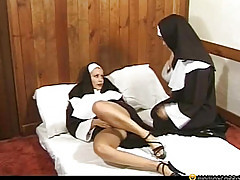 Two naughty nuns on the bed