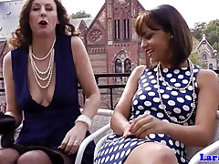Nylon fetish lesbian fun with british mature