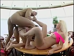 Two Sexy Sluts Fuck And Get Their Feet Jizzed On Video