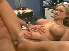 Wild office chick fucks while at work