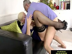 Amateur british babe enjoys old man cock