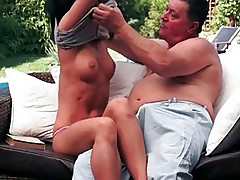Beautiful young brunette enjoys sex with grandpa