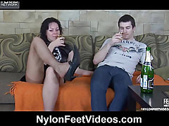 Touches his penis her soft feet