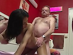 Old Man Try To Fuck A Young Brunette