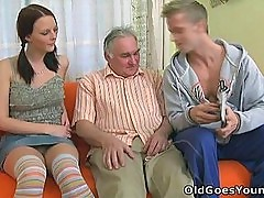 Young babe screams out as an old dude gives her a hell of a fucking
