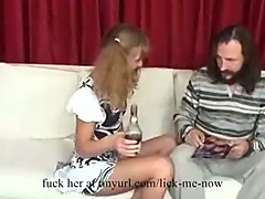 Drunk girl seduces an old man
