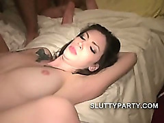 Wild party with horny chicks who suck dick in a crowd
