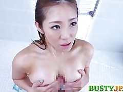 busty MILF is fucked at shower