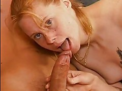Redhead amateur teen sucks and fucks with facial