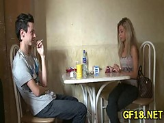She spreads legs wide open and feels how this hard cock