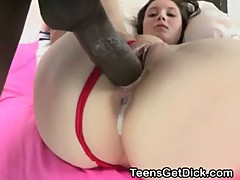 White Teen With Big Tits Takes Massive Black Dick