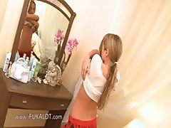 fairhair teen Ivana waiting for a friend