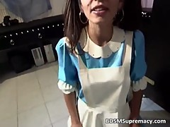 Nasty brunette housewife with cute face