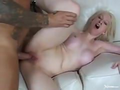 stud creampies a slut with fake boobs./