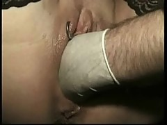 Master spreads legs of hot horny slave with nice tits and fucks her with his hand untill she cums