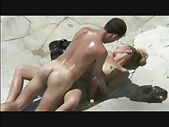 triple beachfuck and suck under the hot sun