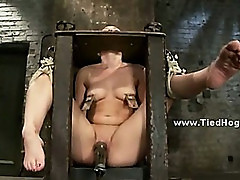 Mistress and master torture slut tormenting her with bondage clips and toys in rough videoclip