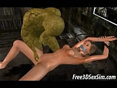 Two 3D cartoon honeys getting fucked by monsters