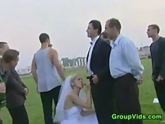 Blonde Bride In A Gang Bang Outdoors