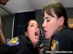 Two female cops in uniform get anally rammed