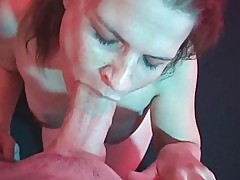 Nervous gal suck cock as deep as she can