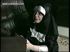 Scared german nun is spanked and hit with whip on her fat ass by priest