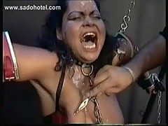 Two slave both with their hands and head tied got candlewax scratch from their faces and big tits