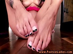 Sexy foot babe uses dildo masturbating and loves it