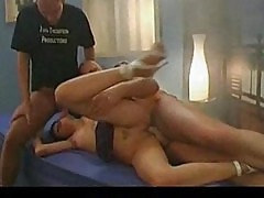 German girl with pierced pussy in hot threesome